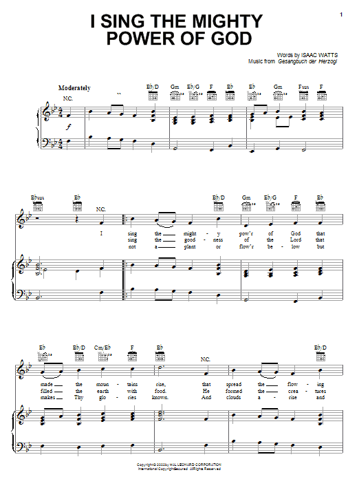 Isaac Watts I Sing The Mighty Power Of God sheet music notes and chords. Download Printable PDF.