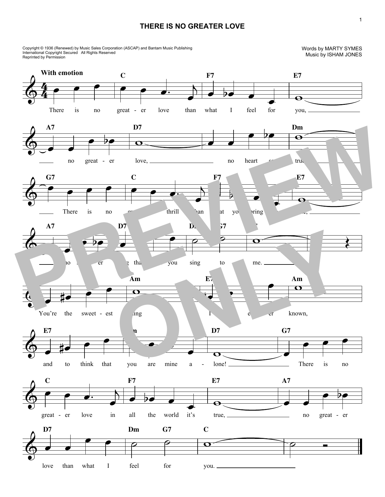 Isham Jones (There Is) No Greater Love sheet music notes and chords. Download Printable PDF.