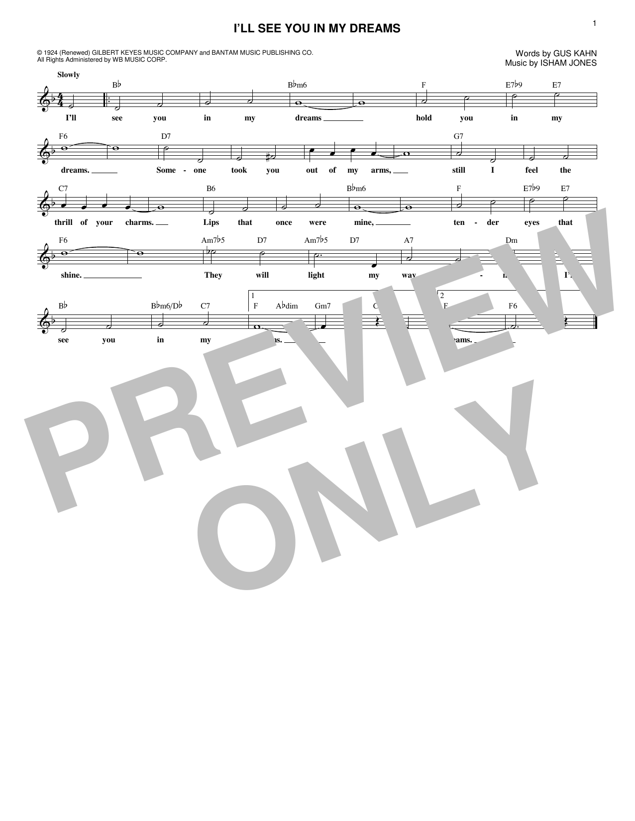 Isham Jones I'll See You In My Dreams sheet music notes and chords. Download Printable PDF.