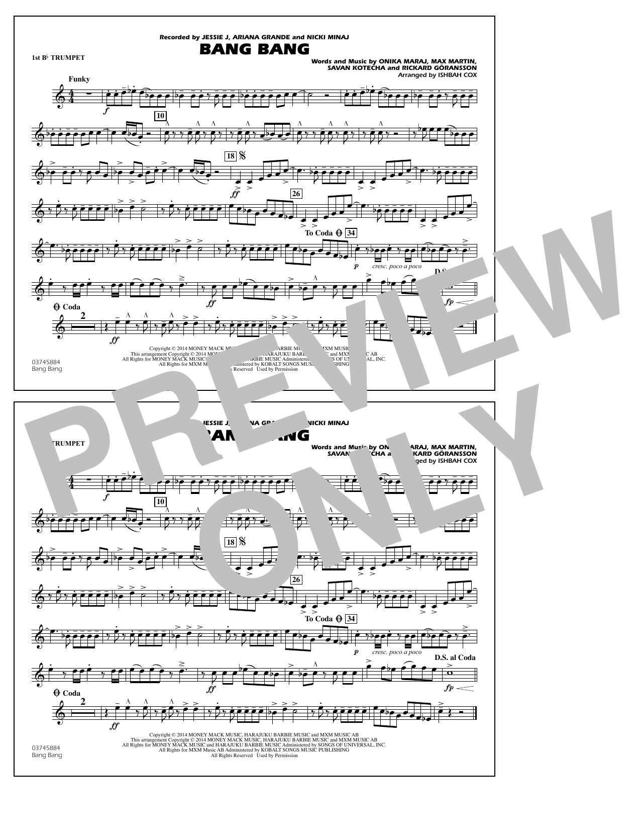 Ishbah Cox Bang Bang - 1st Bb Trumpet sheet music notes and chords. Download Printable PDF.