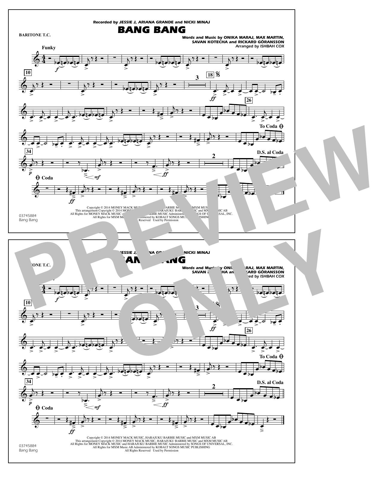 Ishbah Cox Bang Bang - Baritone T.C. sheet music notes and chords. Download Printable PDF.