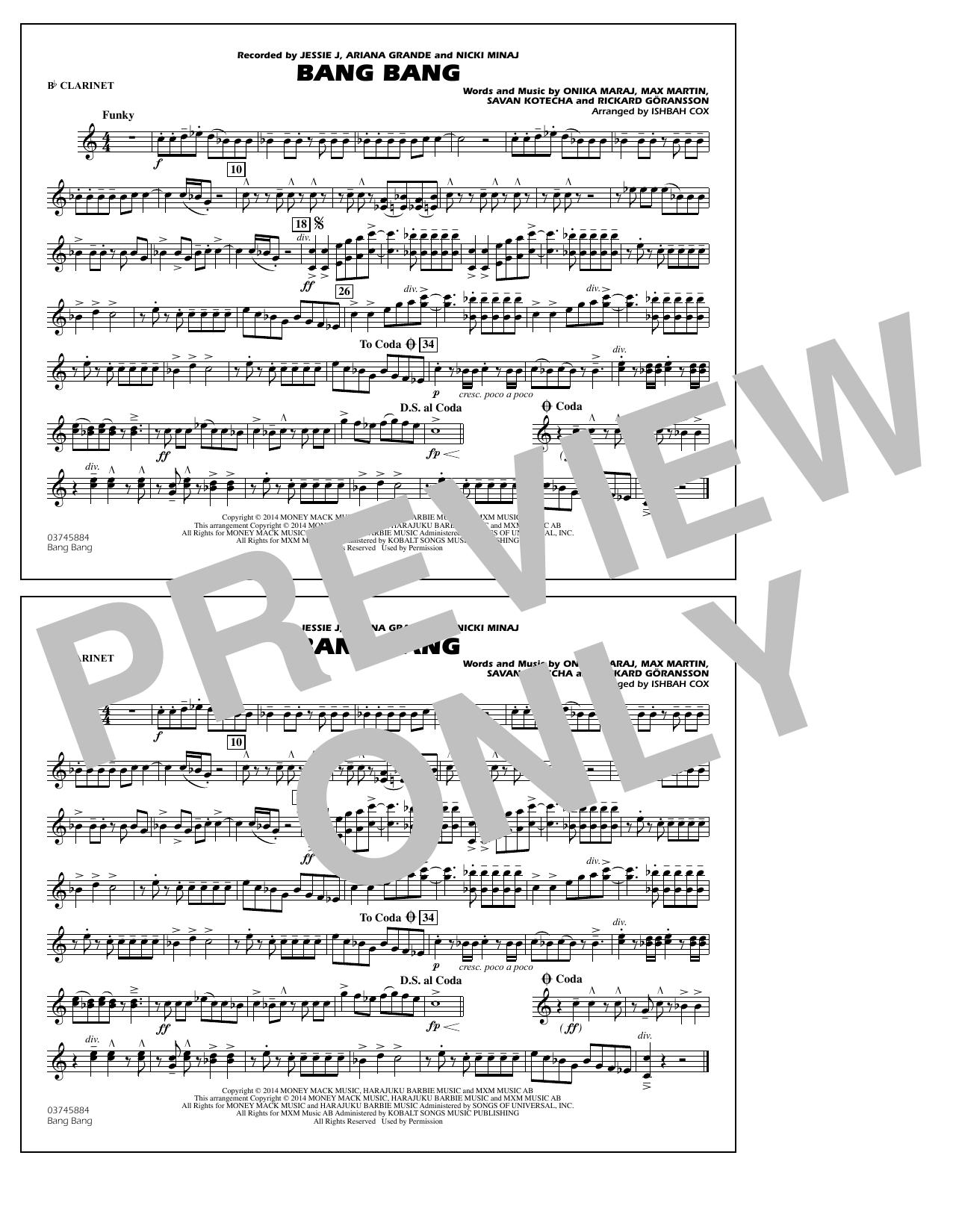 Ishbah Cox Bang Bang - Bb Clarinet sheet music notes and chords. Download Printable PDF.
