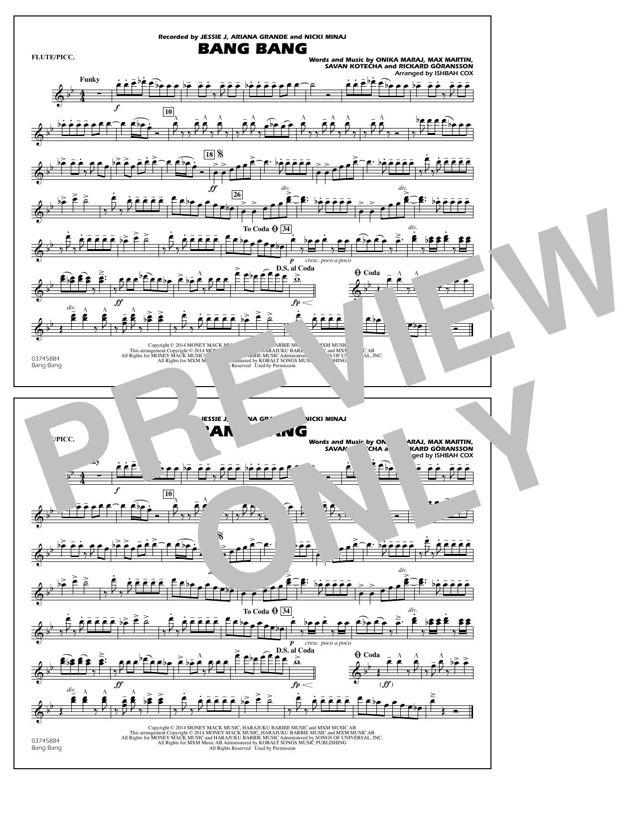 Ishbah Cox Bang Bang - Flute/Piccolo sheet music notes and chords. Download Printable PDF.