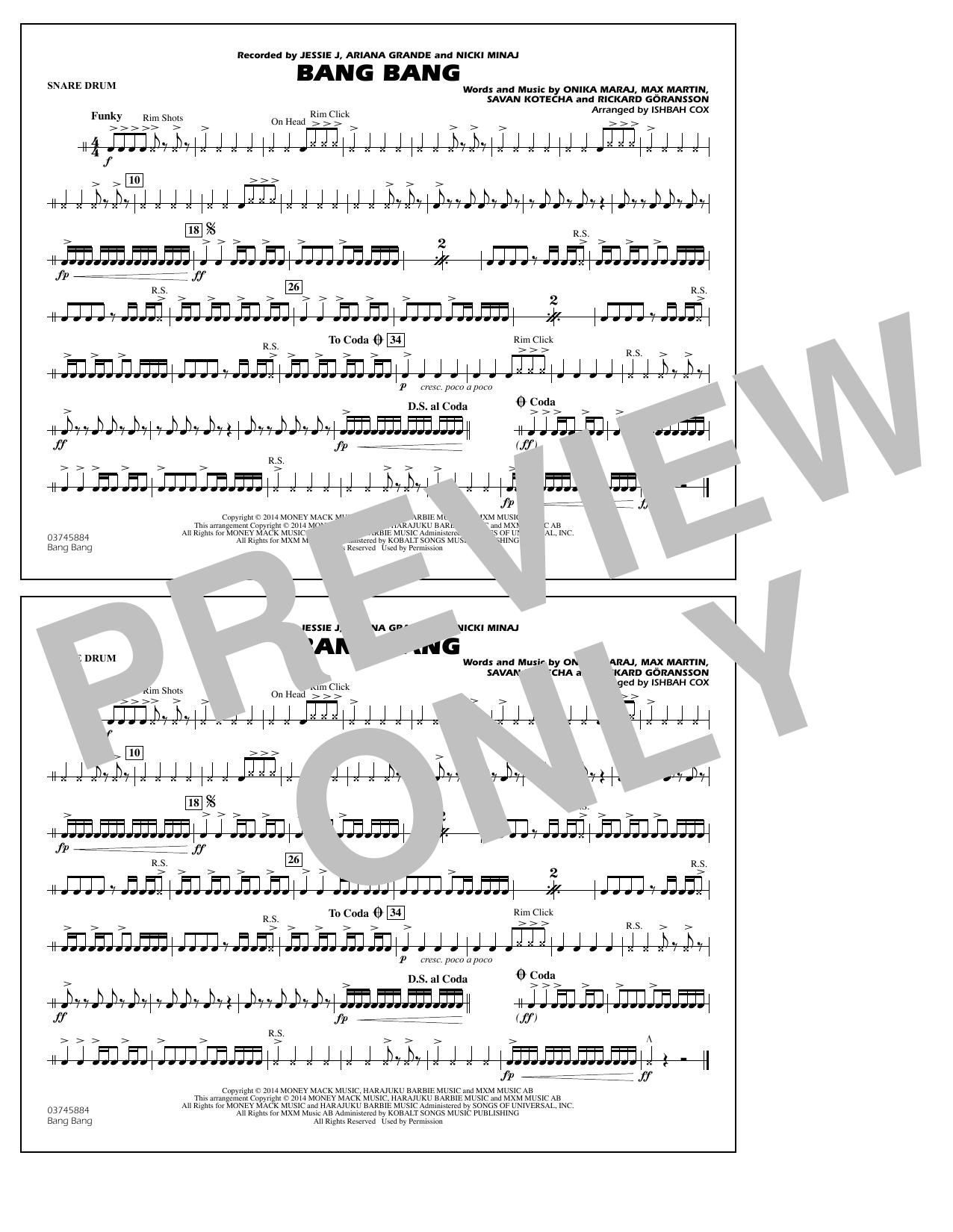 Ishbah Cox Bang Bang - Snare Drum sheet music notes and chords. Download Printable PDF.