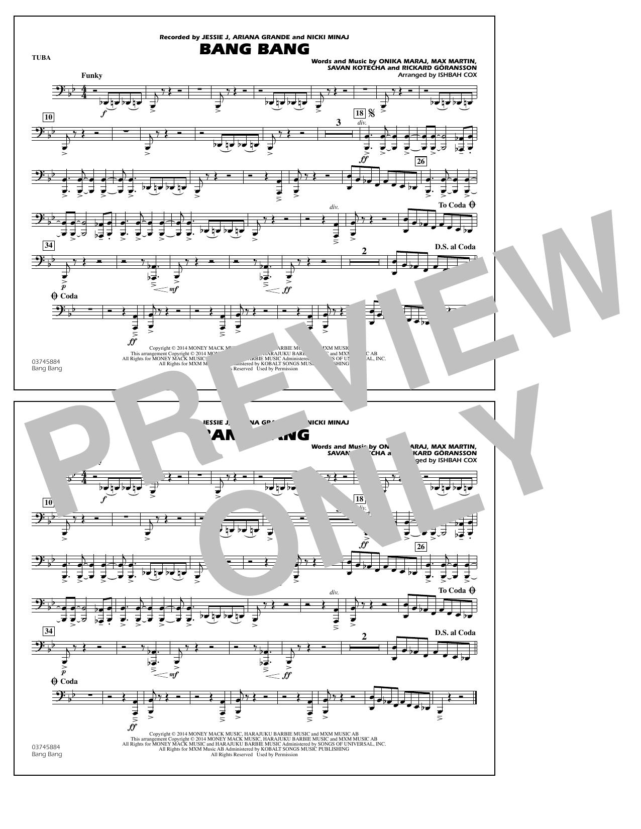 Ishbah Cox Bang Bang - Tuba sheet music notes and chords. Download Printable PDF.