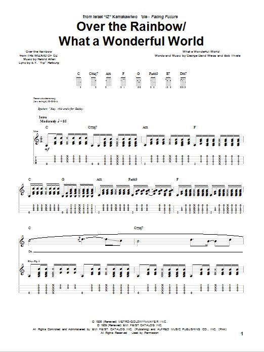 Israel Iz Kamakawiwo Ole Over The Rainbow What A Wonderful World Sheet Music Pdf Notes Chords Children Score Ukulele Tab Download Printable Sku 81207