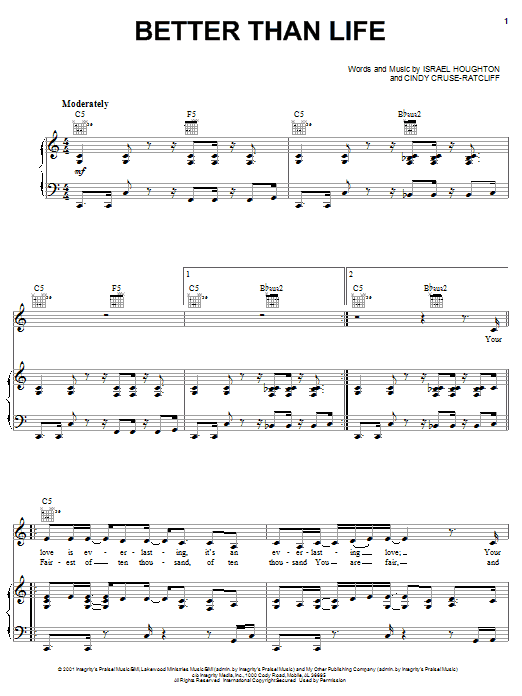 Israel Houghton Better Than Life sheet music notes and chords. Download Printable PDF.