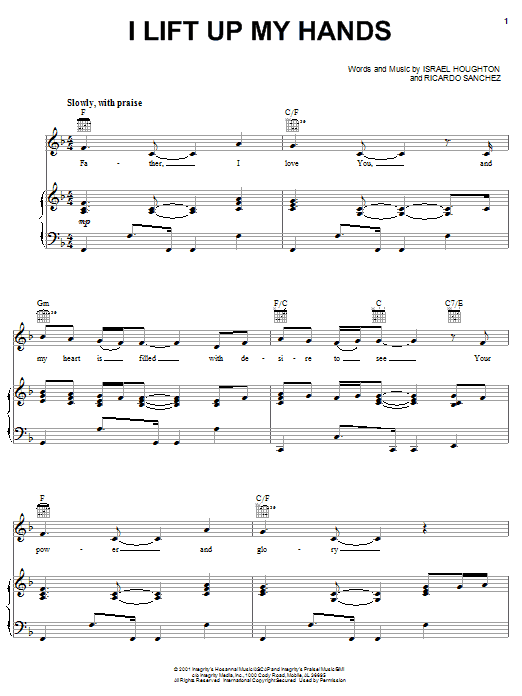 Israel Houghton I Lift Up My Hands sheet music notes and chords. Download Printable PDF.