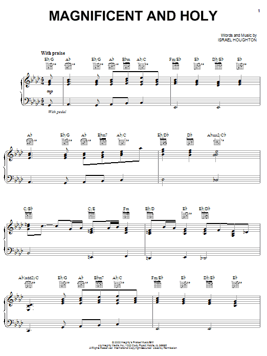Israel Houghton Magnificent And Holy sheet music notes and chords. Download Printable PDF.