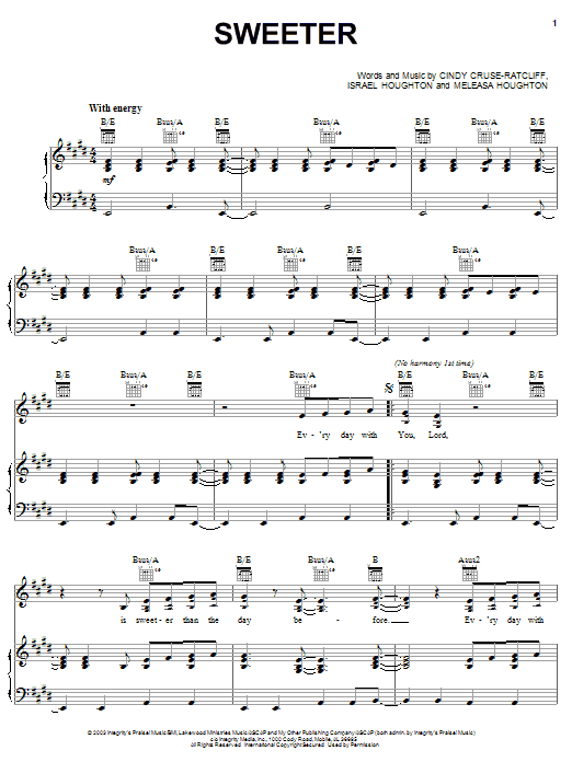Israel Houghton Sweeter sheet music notes and chords. Download Printable PDF.