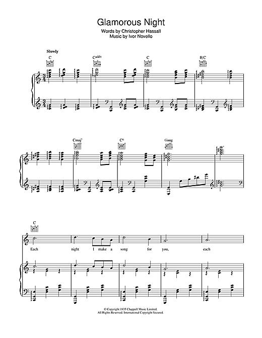 Ivor Novello Glamorous Night sheet music notes and chords. Download Printable PDF.