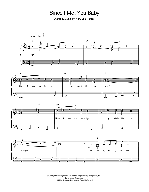 Ivory Joe Hunter Since I Met You Baby sheet music notes and chords. Download Printable PDF.