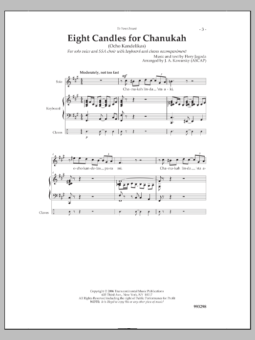 J. A. Kawarsky Eight Candles for Chanukah sheet music notes and chords. Download Printable PDF.