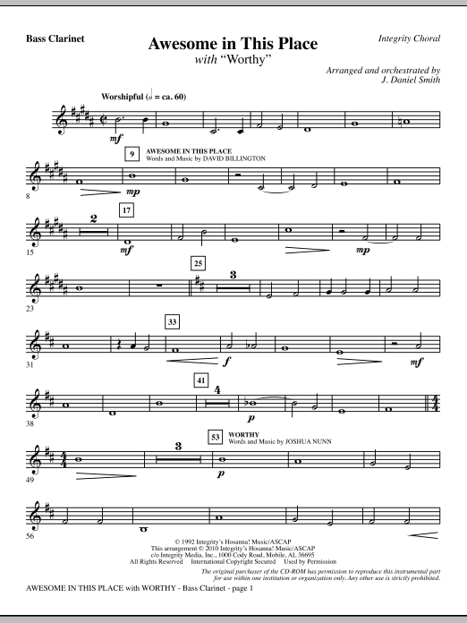 J. Daniel Smith Awesome In This Place (with Worthy) - Bb Bass Clarinet sheet music notes and chords. Download Printable PDF.