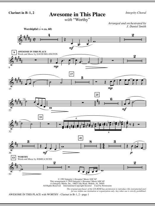 J. Daniel Smith Awesome In This Place (with Worthy) - Clarinet 1 & 2 sheet music notes and chords. Download Printable PDF.