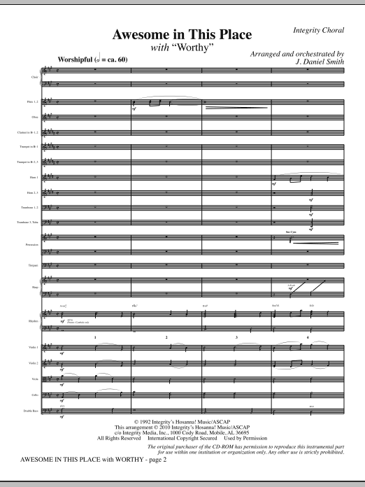 J. Daniel Smith Awesome In This Place (with Worthy) - Full Score sheet music notes and chords. Download Printable PDF.