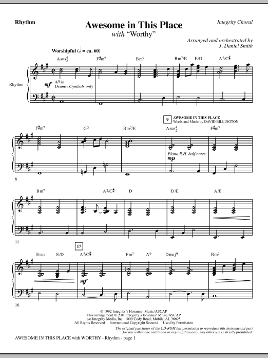 J. Daniel Smith Awesome In This Place (with Worthy) - Rhythm sheet music notes and chords. Download Printable PDF.