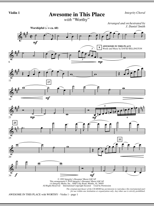 J. Daniel Smith Awesome In This Place (with Worthy) - Violin 1 sheet music notes and chords. Download Printable PDF.