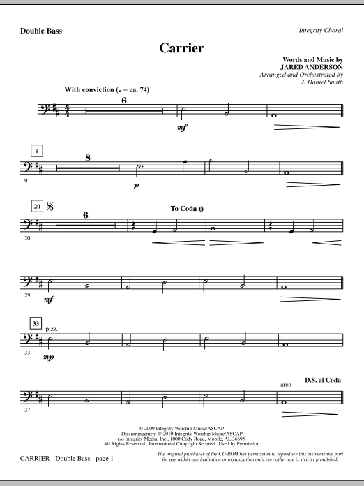 J. Daniel Smith Carrier - Double Bass sheet music notes and chords. Download Printable PDF.