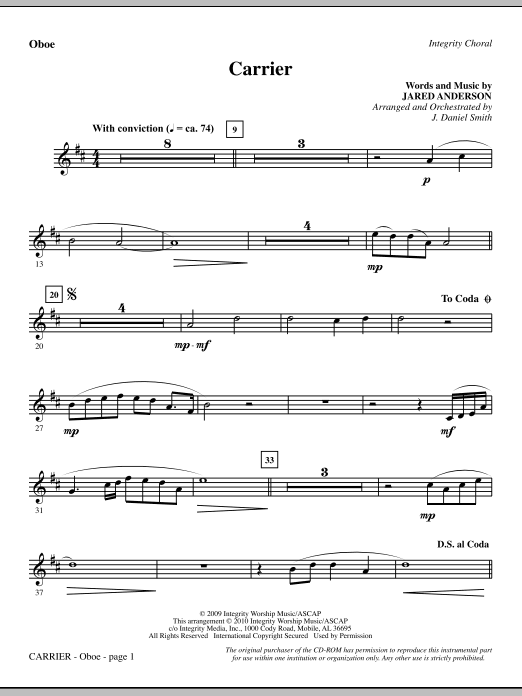 J. Daniel Smith Carrier - Oboe sheet music notes and chords. Download Printable PDF.