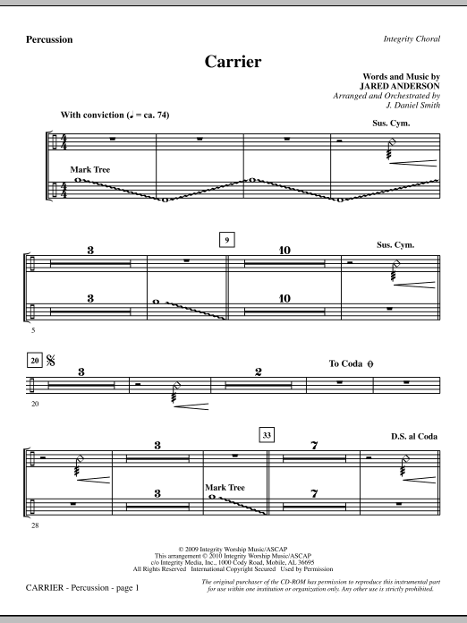 J. Daniel Smith Carrier - Percussion sheet music notes and chords. Download Printable PDF.