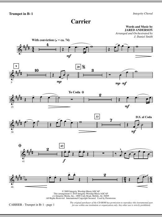J. Daniel Smith Carrier - Trumpet 1 sheet music notes and chords. Download Printable PDF.