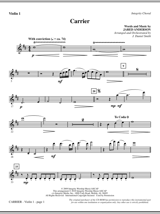 J. Daniel Smith Carrier - Violin 1 sheet music notes and chords. Download Printable PDF.