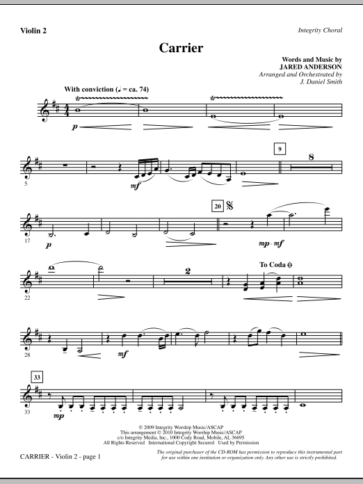 J. Daniel Smith Carrier - Violin 2 sheet music notes and chords. Download Printable PDF.