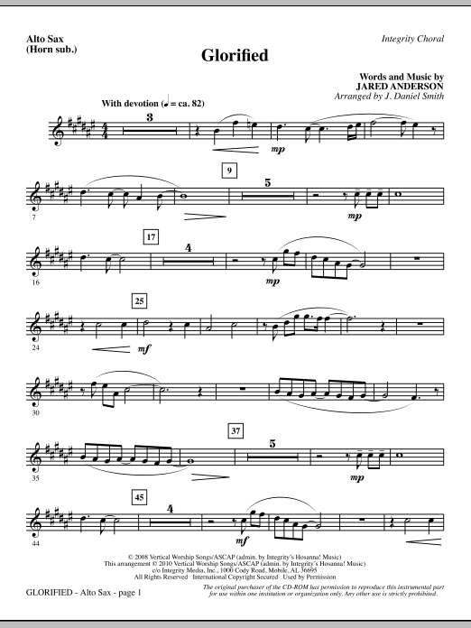 J. Daniel Smith Glorified - Alto Sax (Horn sub.) sheet music notes and chords. Download Printable PDF.