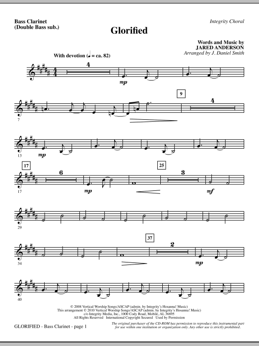 J. Daniel Smith Glorified - Bass Clar. (Double Bass sub.) sheet music notes and chords. Download Printable PDF.