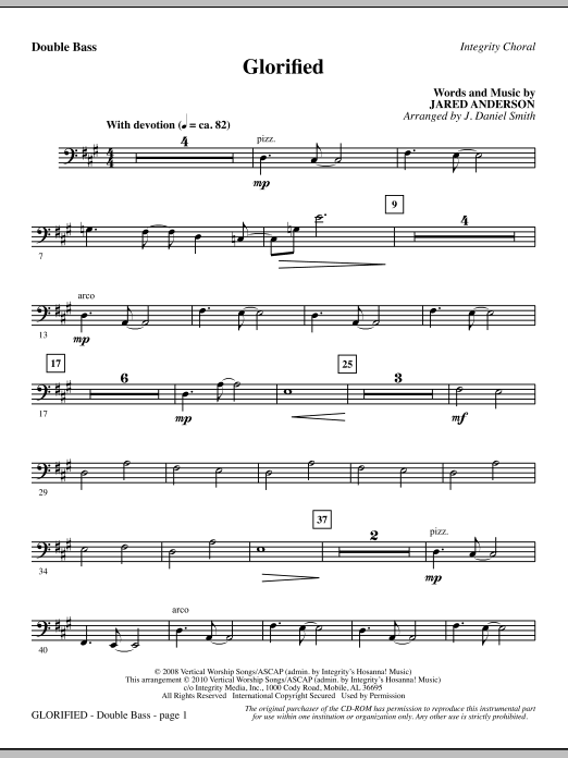 J. Daniel Smith Glorified - Double Bass sheet music notes and chords. Download Printable PDF.