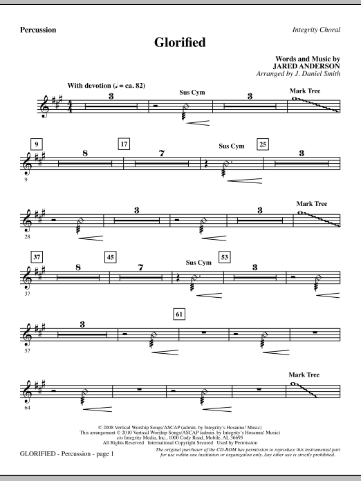 J. Daniel Smith Glorified - Percussion sheet music notes and chords. Download Printable PDF.