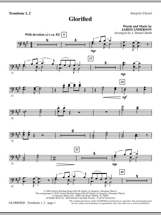J. Daniel Smith Glorified - Trombone 1 & 2 sheet music notes and chords. Download Printable PDF.