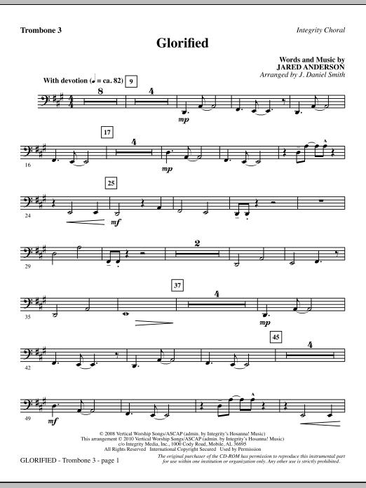 J. Daniel Smith Glorified - Trombone 3 sheet music notes and chords. Download Printable PDF.