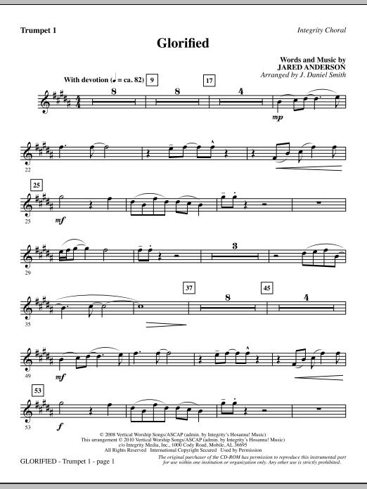 J. Daniel Smith Glorified - Trumpet 1 sheet music notes and chords. Download Printable PDF.