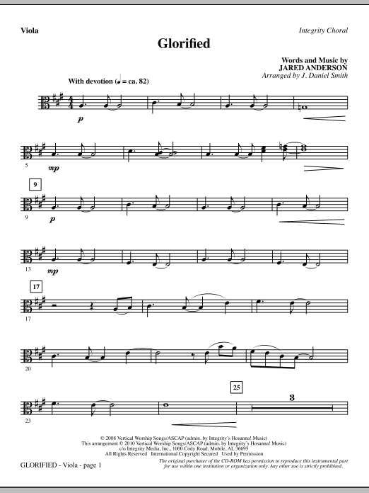 J. Daniel Smith Glorified - Viola sheet music notes and chords. Download Printable PDF.