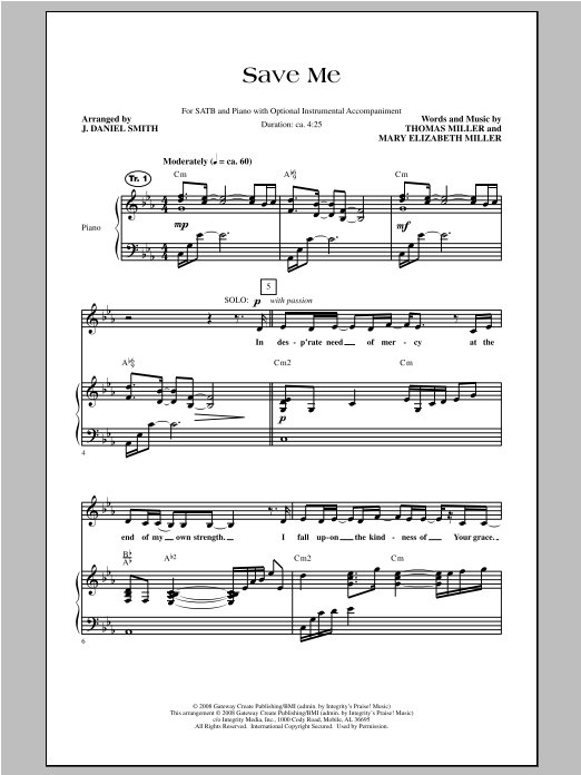 J. Daniel Smith Save Me sheet music notes and chords. Download Printable PDF.