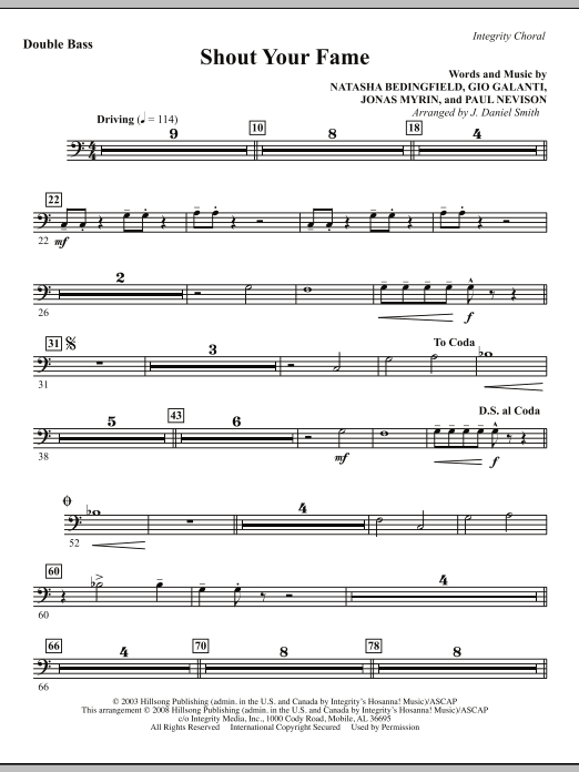 J. Daniel Smith Shout Your Fame - Double Bass sheet music notes and chords. Download Printable PDF.