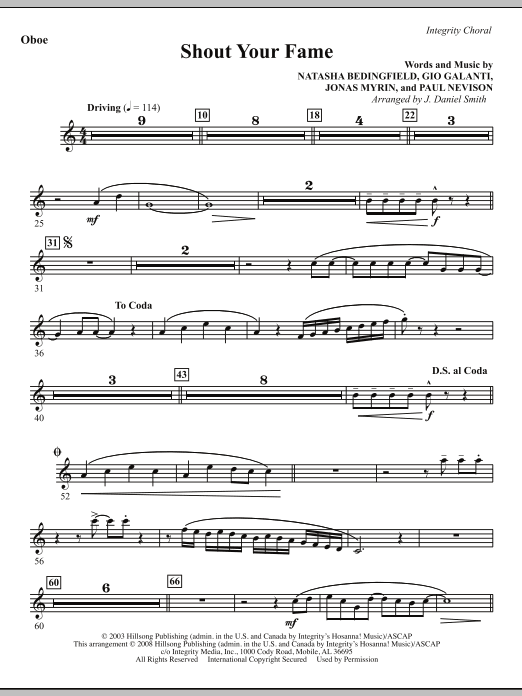 J. Daniel Smith Shout Your Fame - Oboe sheet music notes and chords. Download Printable PDF.