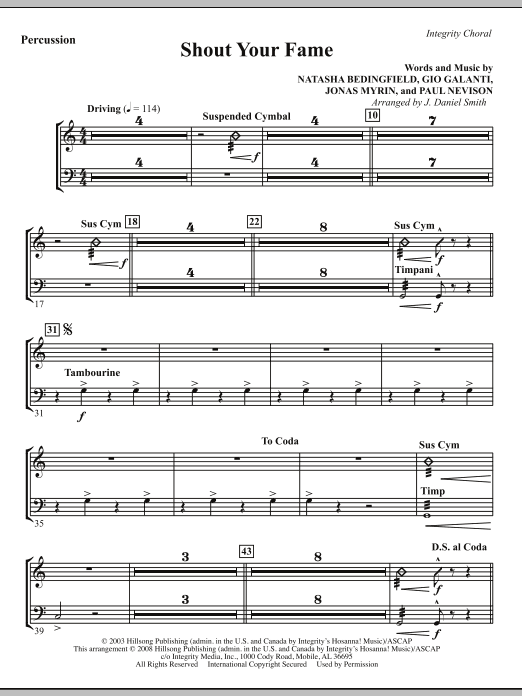 J. Daniel Smith Shout Your Fame - Percussion sheet music notes and chords. Download Printable PDF.