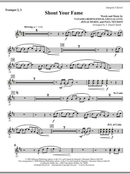 J. Daniel Smith Shout Your Fame - Trumpet 2 & 3 sheet music notes and chords. Download Printable PDF.