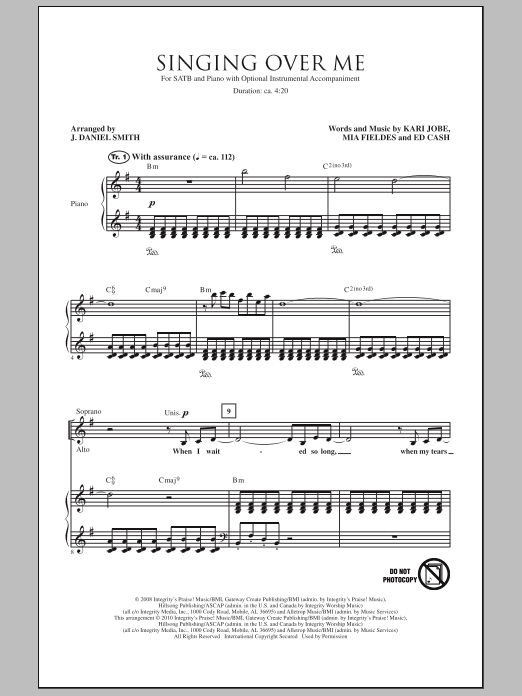 J. Daniel Smith Singing Over Me sheet music notes and chords. Download Printable PDF.