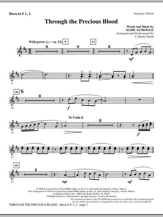 J. Daniel Smith Through The Precious Blood - Horn 1 & 2 sheet music notes and chords. Download Printable PDF.