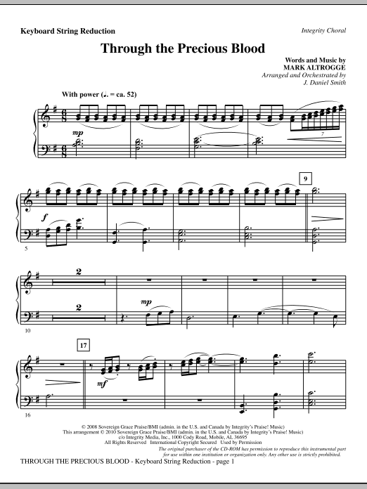 J. Daniel Smith Through The Precious Blood - Keyboard String Reduction sheet music notes and chords. Download Printable PDF.