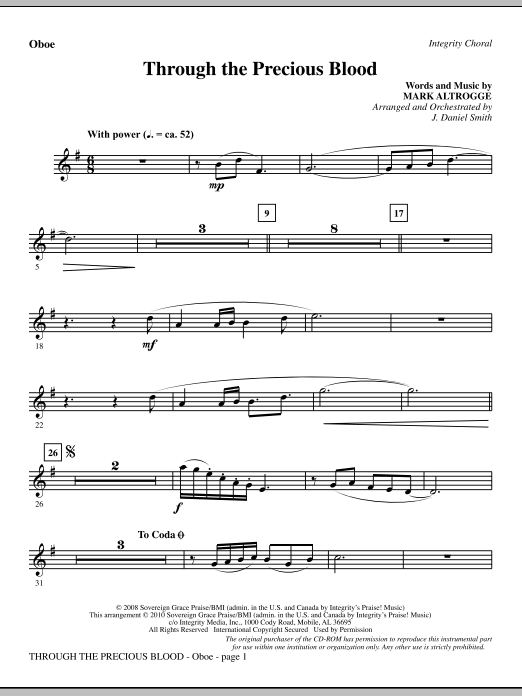 J. Daniel Smith Through The Precious Blood - Oboe sheet music notes and chords. Download Printable PDF.