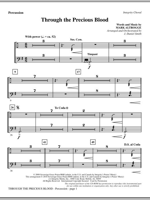 J. Daniel Smith Through The Precious Blood - Percussion sheet music notes and chords. Download Printable PDF.
