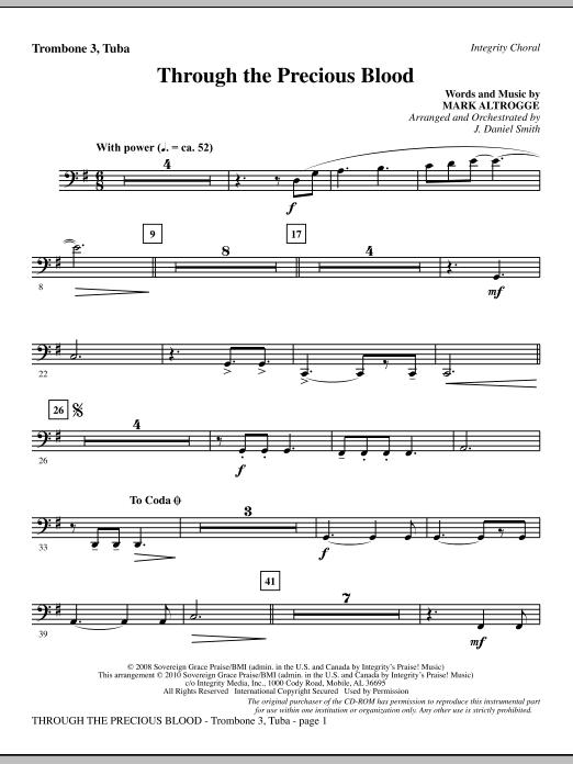 J. Daniel Smith Through The Precious Blood - Trombone 3/Tuba sheet music notes and chords. Download Printable PDF.