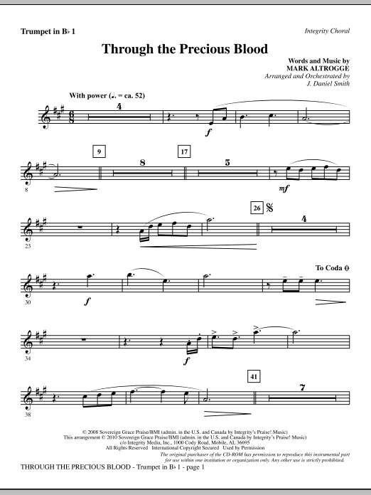 J. Daniel Smith Through The Precious Blood - Trumpet 1 sheet music notes and chords. Download Printable PDF.