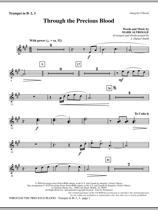 J. Daniel Smith Through The Precious Blood - Trumpet 2 & 3 sheet music notes and chords. Download Printable PDF.