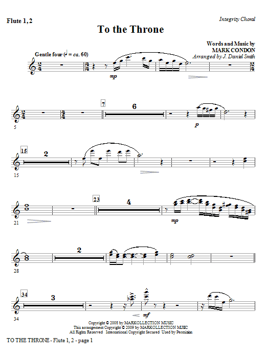 J. Daniel Smith To The Throne - Flute 1 & 2 sheet music notes and chords. Download Printable PDF.